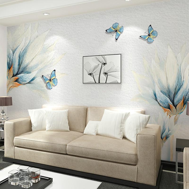卡茵 客廳電視背景墻壁畫 臥室影視墻沙發墻壁紙 藍色