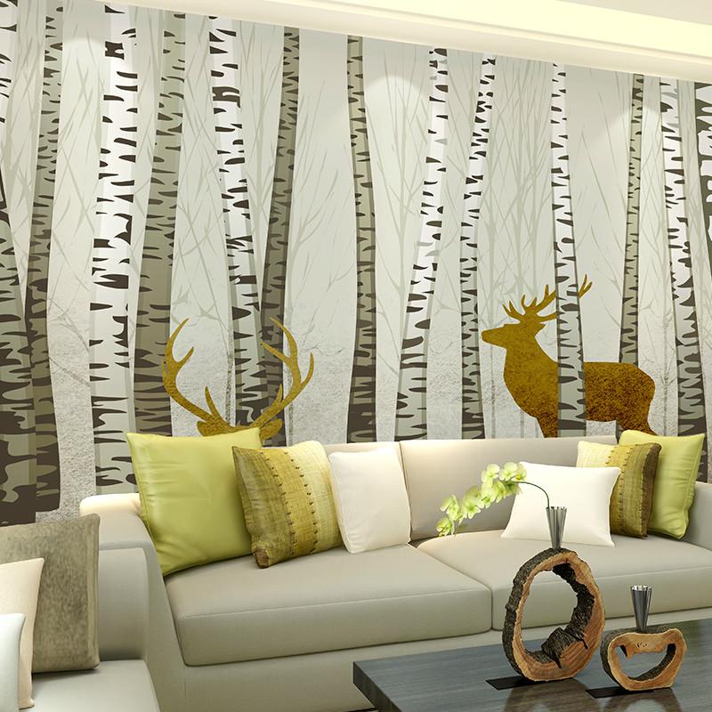 北欧唯美简约白桦林客厅电视背景墙壁纸