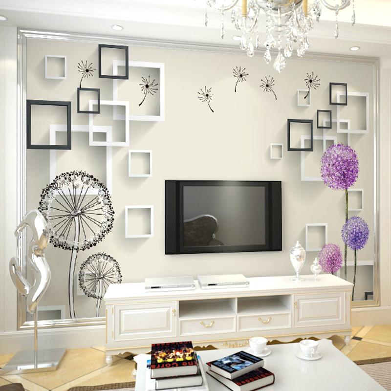 卡茵 现代简约大型壁画 客厅电视背景墙壁纸 3d立体墙纸蒲公英墙布整