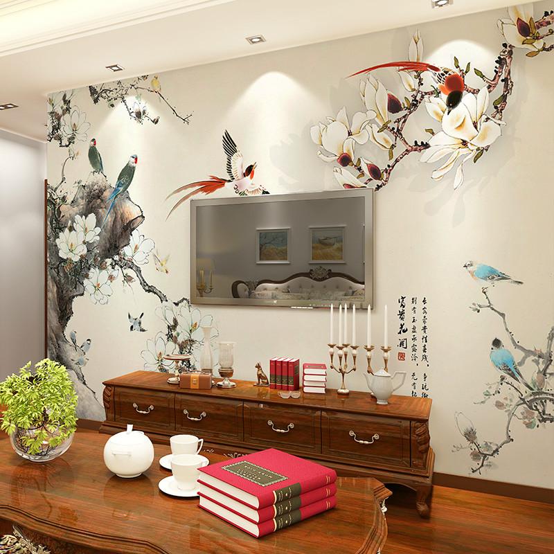 新中式电视背景墙壁纸 客厅影视墙大型壁画 卧室墙纸整张无缝墙布5058