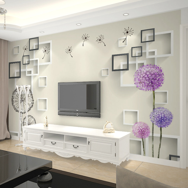 卡茵 现代简约大型壁画 客厅电视背景墙壁纸 3d立体墙纸蒲公英墙布整4
