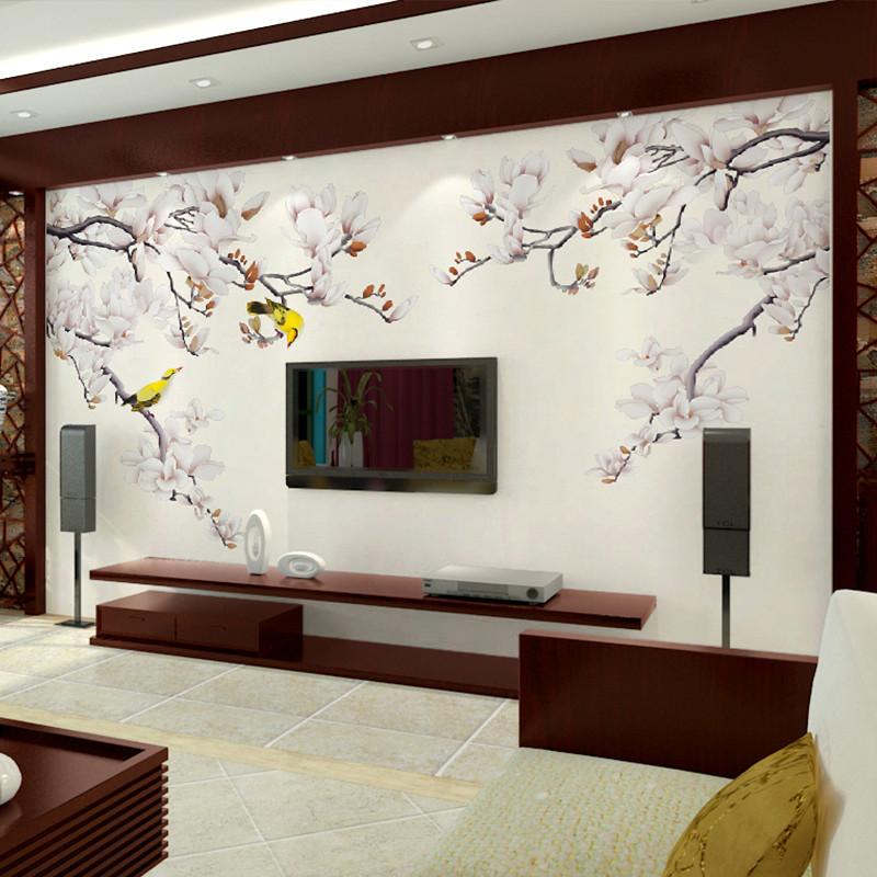 卡茵 中式花鸟客厅电视背景墙壁画 定制沙发墙墙纸 无缝影视墙创意
