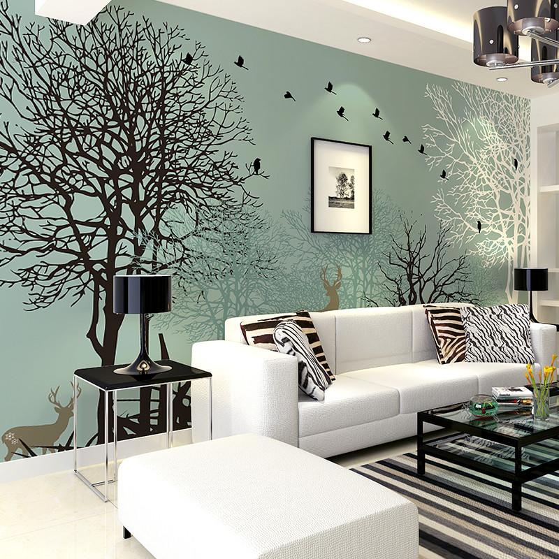卡茵 现代电视背景墙壁画 卧室影视墙创意墙纸 定制沙发墙壁纸7028图片