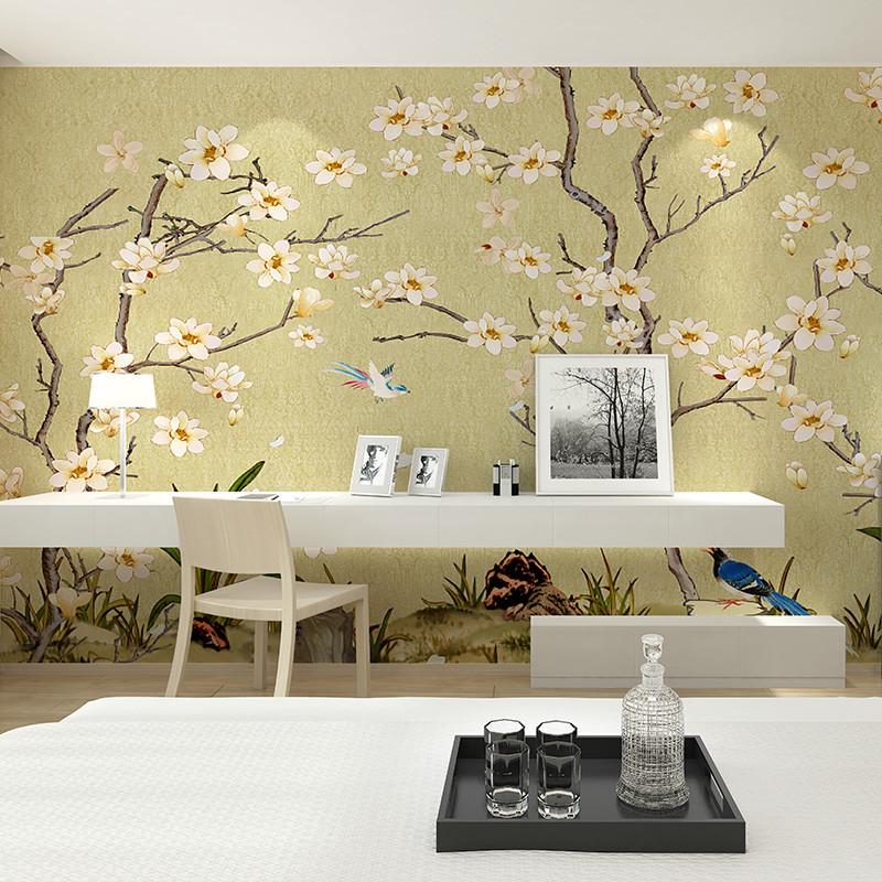 卡茵 中式客厅电视背景墙壁画 沙发背景墙创意梅花墙纸 书房定制壁纸