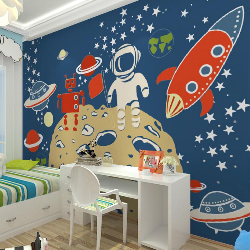 卡茵 宇宙太空儿童卡通壁画 客厅电视背景墙壁画 定制卧室男女儿童房