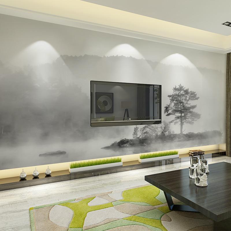 定制黑白文艺墙纸 新中式个性山水画背景墙壁纸