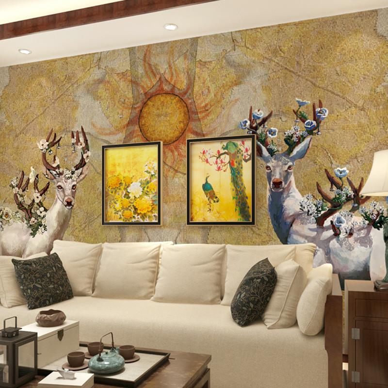 卡茵 欧式电视背景墙壁纸 定制欧式卧室影视墙沙发墙壁画 手绘麋鹿