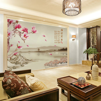 卡茵 韵彩 中式时尚花卉客厅电视背景墙壁画 影视墙无缝墙纸定制