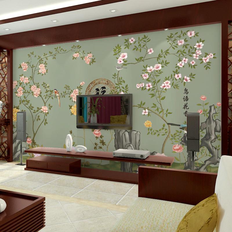 卡茵 中式花鸟电视背景墙壁纸 客厅卧室墙纸壁画 现代简约影视墙壁纸