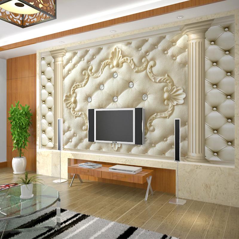 卡茵 欧式软包客厅电视背景墙壁画 无缝创意影视墙壁纸 定制墙纸
