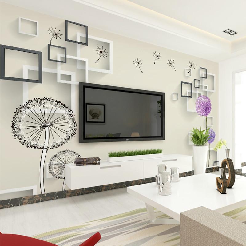 现代简约大型壁画 整张无缝客厅电视背景墙壁纸 3d立体墙纸蒲公英墙布