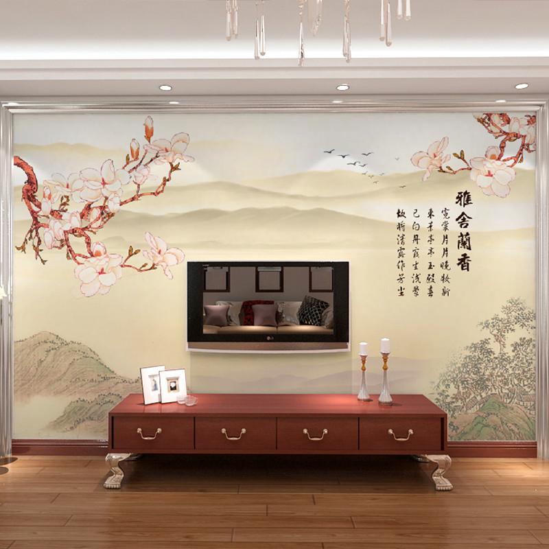 卡茵 中式客厅电视背景墙壁画 简约无缝墙布 创意定制图片