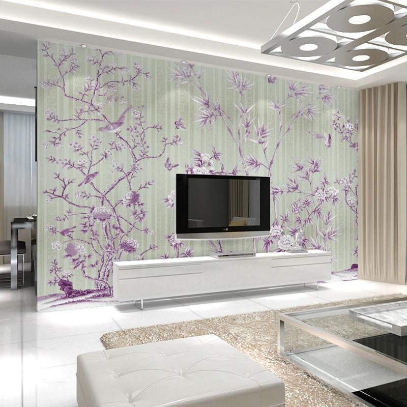 卡茵 手绘花鸟图新中式花鸟电视背景墙壁画创意影视墙