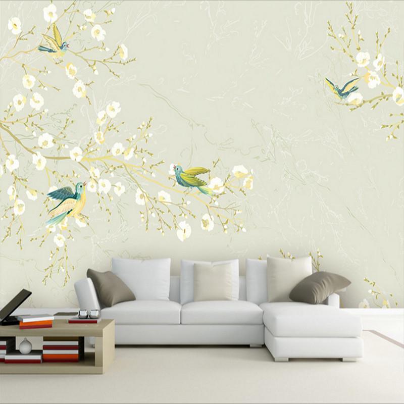 中式工笔花鸟电视背景墙壁纸定制墙绘手绘壁画书房壁布影视墙墙纸