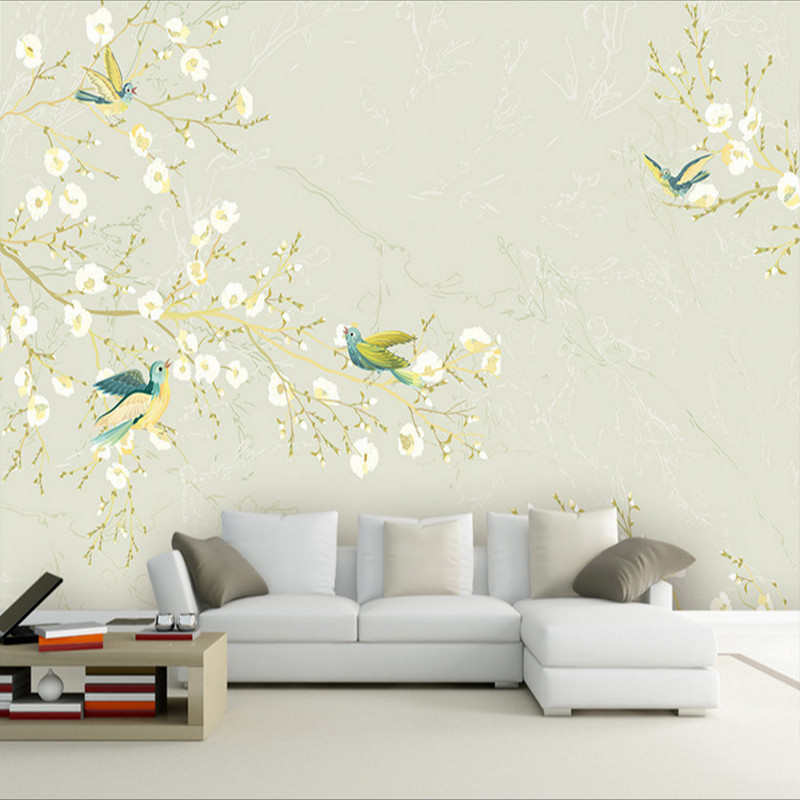 卡茵 中式工笔花鸟电视背景墙壁纸定制墙绘手绘壁画书房壁布影视墙