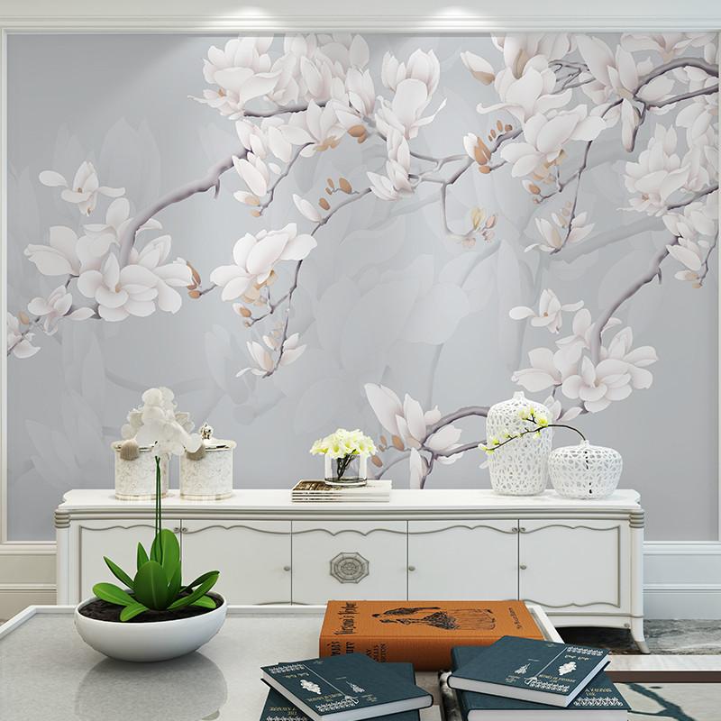卡茵 手绘高清简约玉兰花电视背景墙壁画定制墙绘手绘