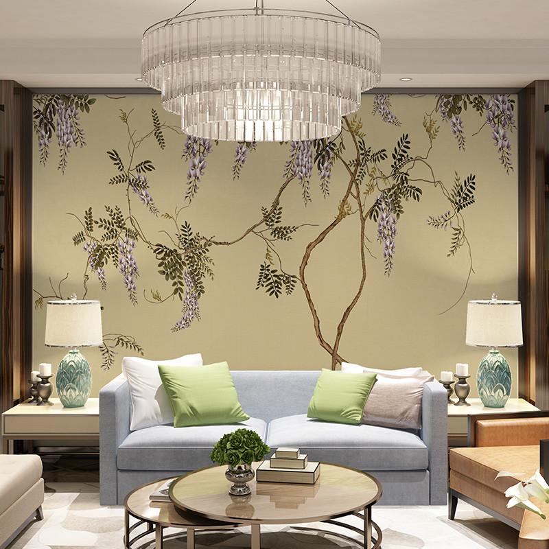 中式电视背景墙壁画中国风书房壁纸工笔紫藤花会客室墙纸手绘墙布
