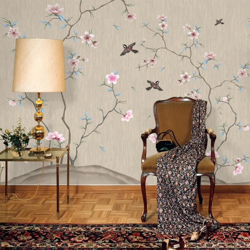 中式电视背景墙壁画工笔书房无缝壁纸花鸟沙发背景墙墙纸手绘墙布