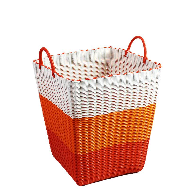 方形衣服整理筐 脏衣篓 洗衣篮 塑料编织筐 框藤编 脏