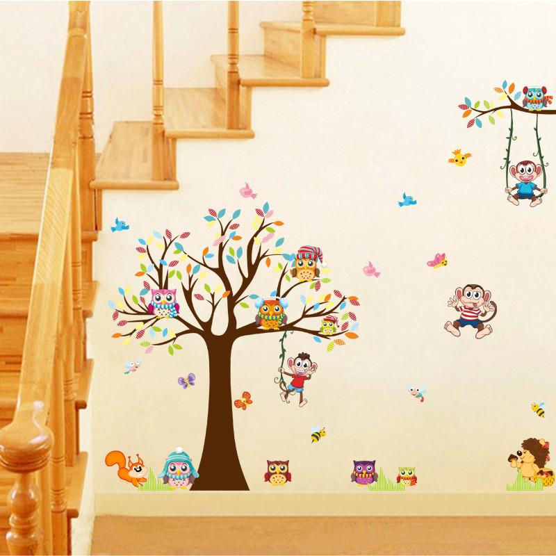可爱卡通动物墙贴儿童房间卧室幼儿园墙壁装饰品教室布置贴画贴纸