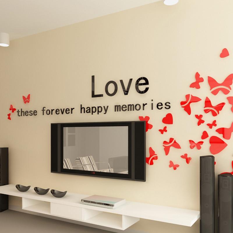 墙贴 客厅电视背景墙装饰贴 卧室影视墙贴 亚克力立体墙贴纸 自粘壁画