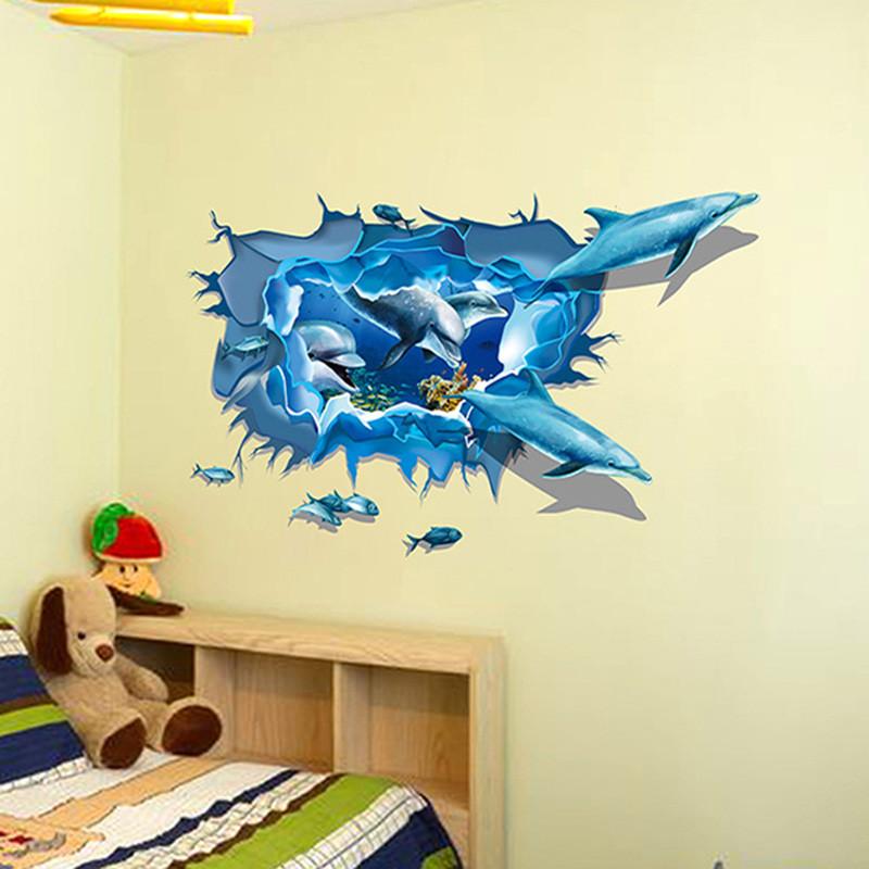 墙贴 贴画 3d视觉效果墙贴 幼儿园装饰贴 卧室浴室卫生间瓷砖天花板墙