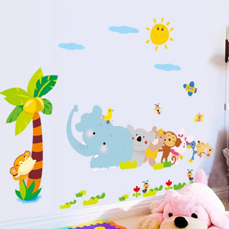儿童宝宝房幼儿园装饰贴 装饰墙贴纸 可移除贴纸 小动物拔河墙贴-中号