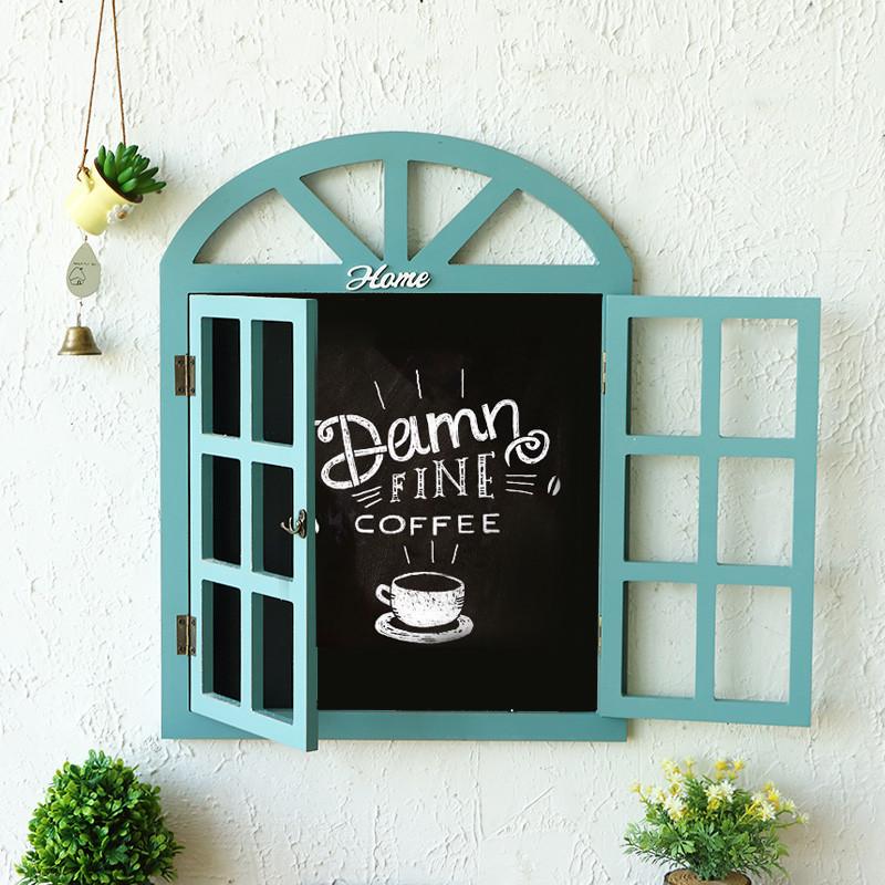 假窗户 创意壁挂小黑板 壁饰 木质百叶窗留言板 酒吧咖啡厅电表箱装饰