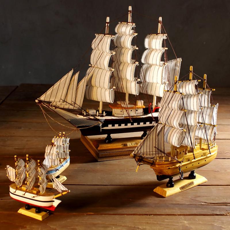 摆件 木船 一帆风顺帆船模型 木质帆船船模 家居装饰品摆设 礼物-w200