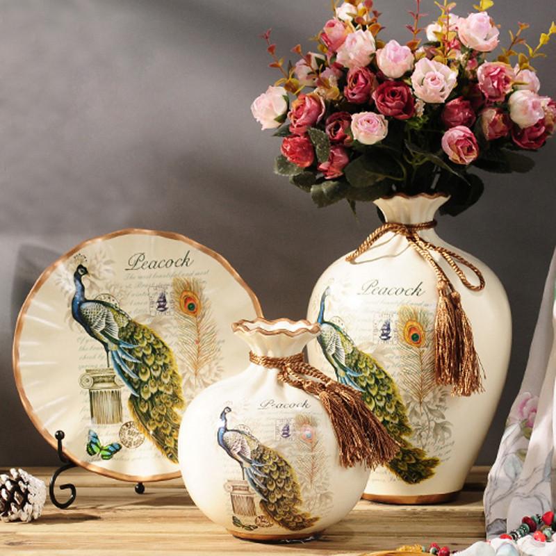 欧式陶瓷花瓶 插花器 摆件 摆盘 家居装饰品 客厅电视