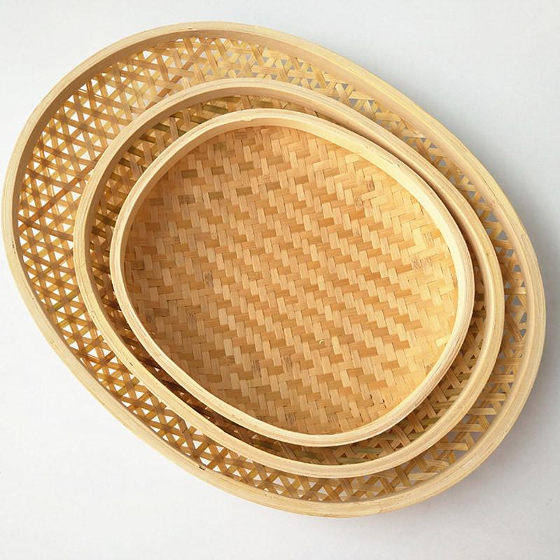笸箩筐椭圆形竹编收纳筐馒头筐冰箱用饺子垫馍筐水果收纳篮