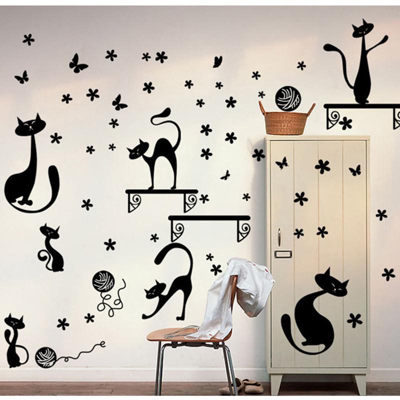 衣柜床头贴纸客厅可爱动物贴纸创意墙面装饰3d立体小猫咪墙贴-长颈小
