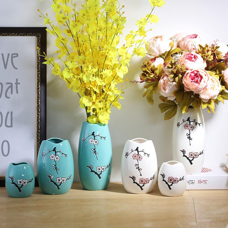 客厅插花容器现代简约陶瓷花瓶摆件餐桌装饰小清新文艺干花瓶-蓝色三