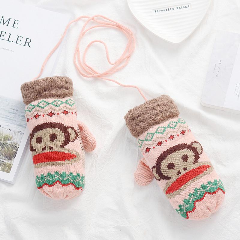 可爱卡通手套女冬季保暖手套学生男加绒挂脖针织毛线全包指手套-浅
