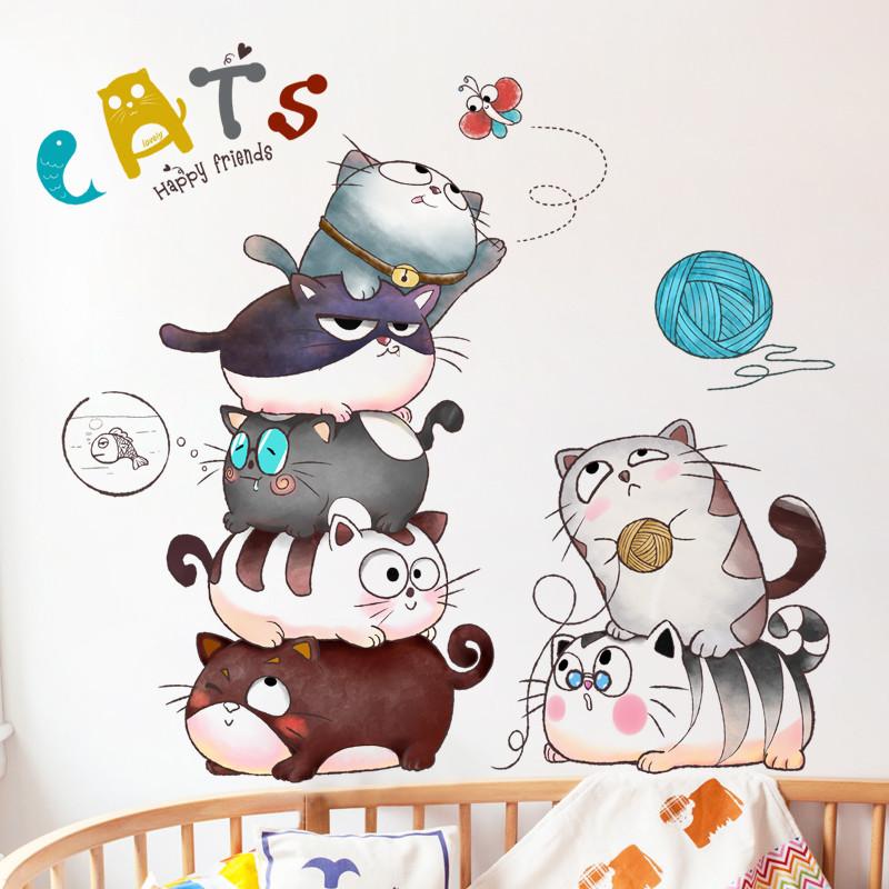 创意卡通儿童房墙纸卧室走廊装饰品可爱文艺猫咪墙贴幼儿园贴画-图片