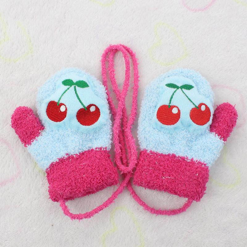 手套冬款卡通保暖男女宝宝卡通可爱保暖头挂绳会叫的小手套-小樱桃