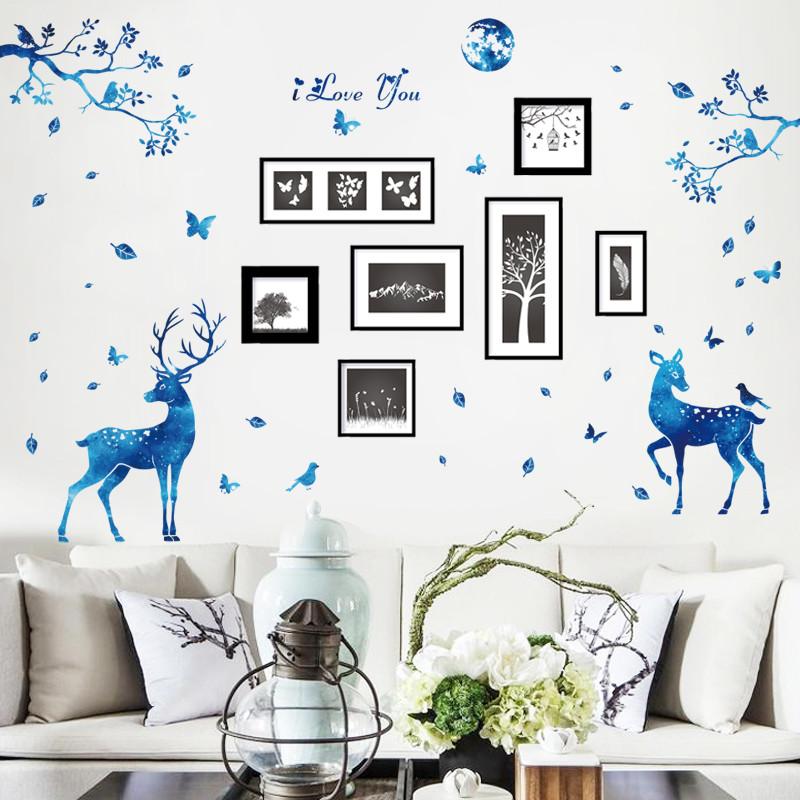 可移除墙纸自粘创意墙贴画卧室床头贴客厅沙发背景装饰画-复古吊灯