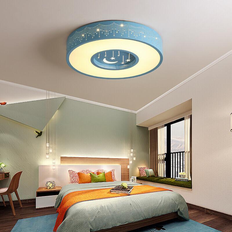 澳松卧室灯具儿童房灯led吸灯房间灯浪漫温馨创意餐卧室灯圆形蓝色