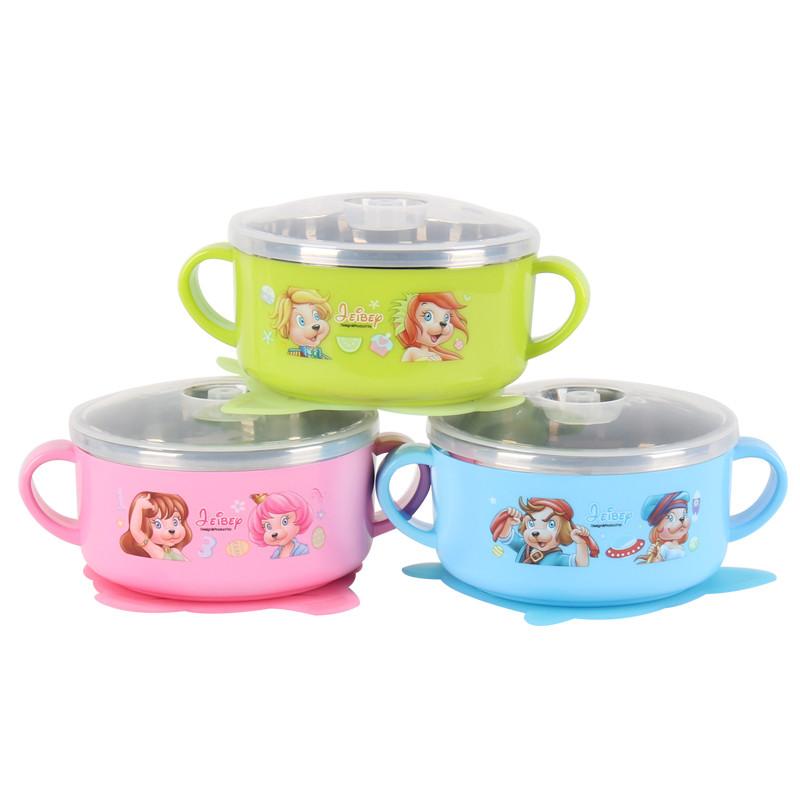 杰贝吸盘碗儿童不锈钢可爱宝宝餐具 带盖防滑饭碗婴儿