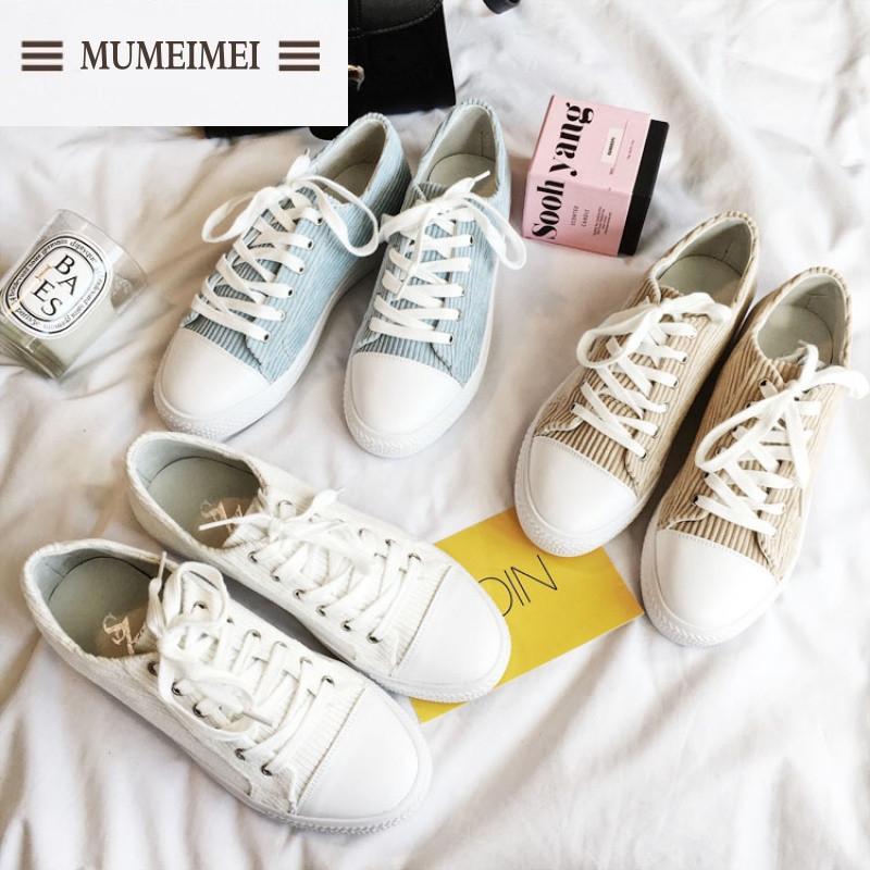 mum韩版灯芯绒系带休闲鞋2017春季新款可爱学生板鞋女平底鞋小白鞋