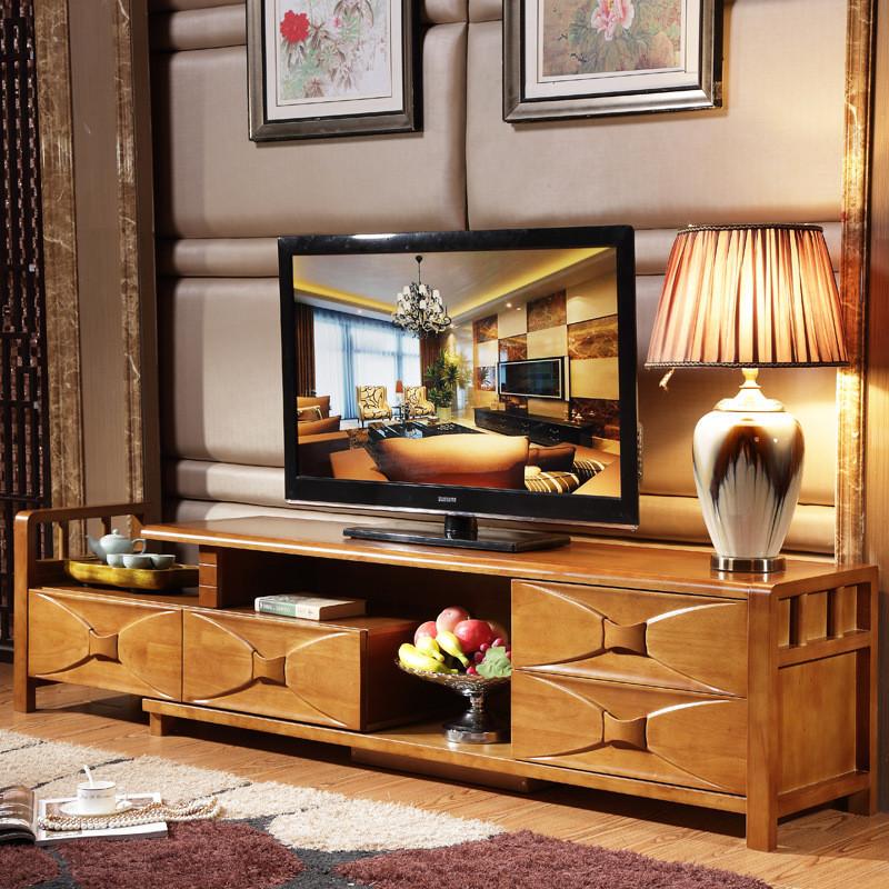 美梦居全实木简约电视柜地柜客厅电视机组合橡胶木伸缩视听柜音响柜