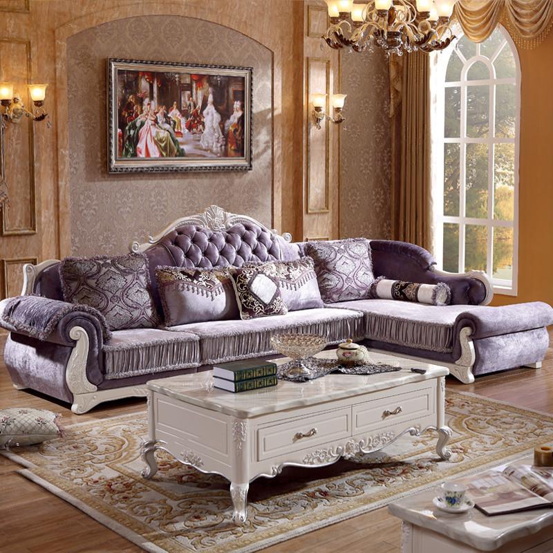欧式沙发 组合 客厅大小户型布沙发简欧转角布艺沙发实木雕花家具图片