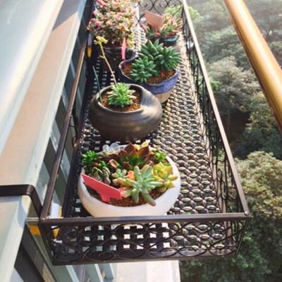欧式简约绿萝多肉栏杆花篮阳台室内铁艺花架壁挂式