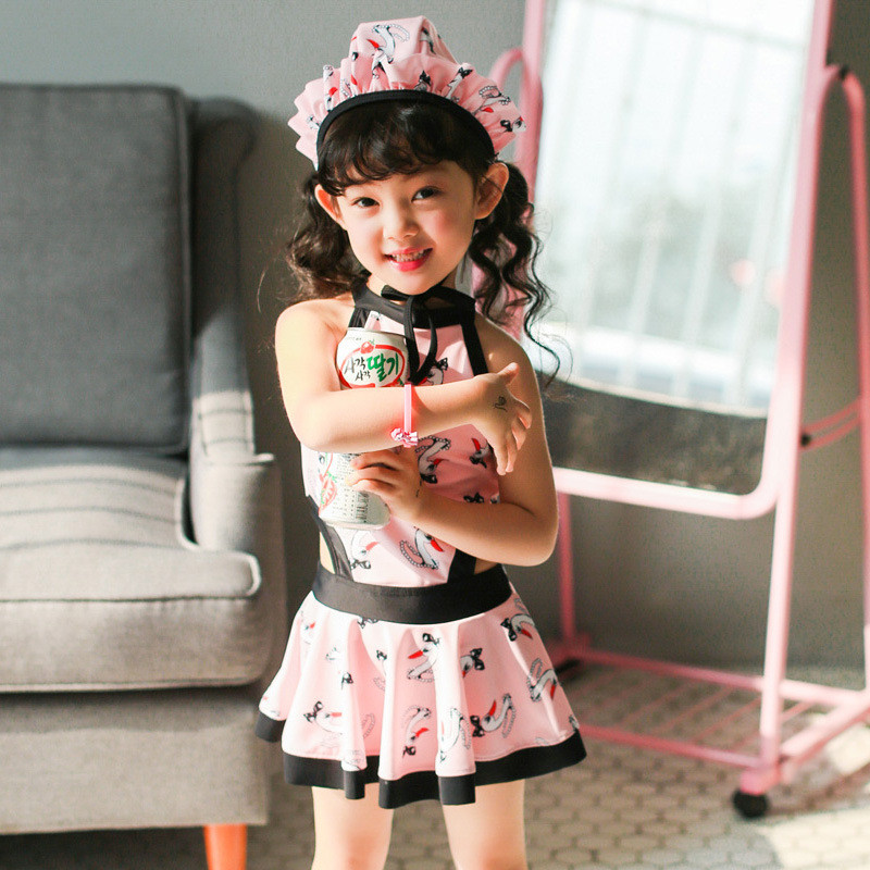户外运动儿童连体裙式泳衣女童可爱中大童小孩小童小女孩韩国学生宝宝