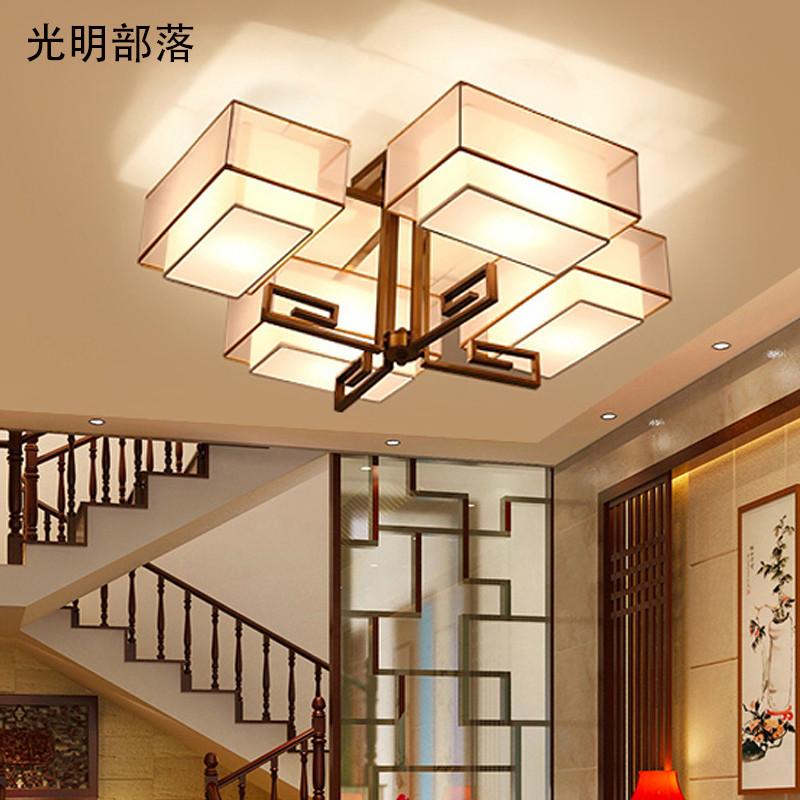 长方形大气客厅灯led现代简约卧室餐厅灯具创意布艺复古书房饭厅灯饰