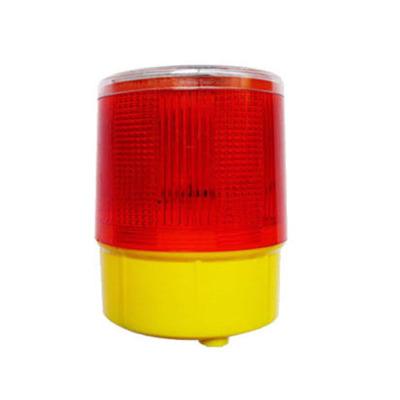 4LED光控太陽能警示燈 塔機頻閃燈交通路障燈吸頂式 帶磁鐵警示燈 紅色,