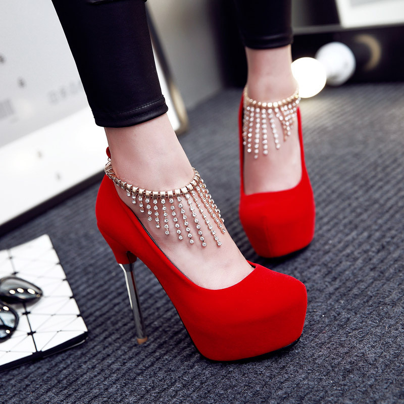 红色新娘鞋性感细高跟鞋白色t台走秀流苏水钻防水台单
