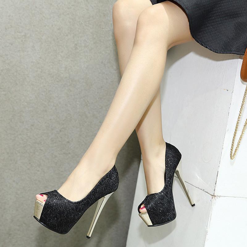 14厘米超高跟鞋细跟性感夜店欧美新款蕾丝亮片防水台浅口鱼嘴鞋女