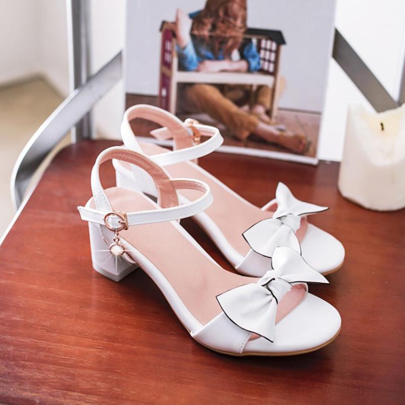 中大童小女孩公主鞋蝴蝶结包头凉鞋韩版童鞋儿童高跟鞋夏季学生鞋