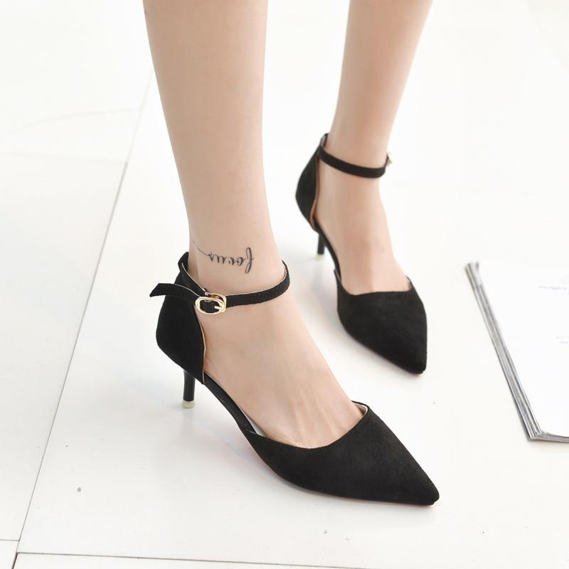 韩版单鞋女鞋5厘米低跟尖头绒面高跟鞋细跟浅口一字扣
